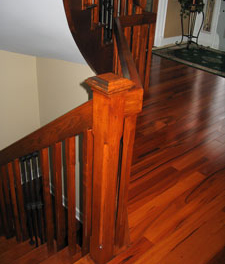 tigerwood flooring and maple curved railings