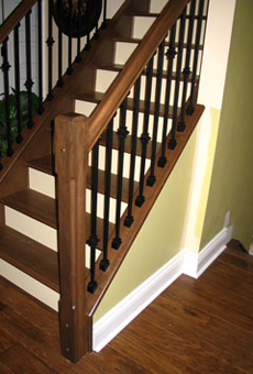 Black Walnut Treads Railings With Wrought Iron Spindles