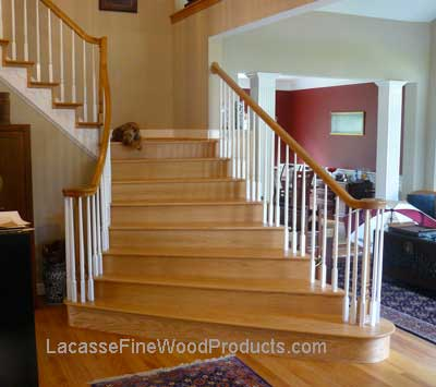 Oak triangular hardwood stairs