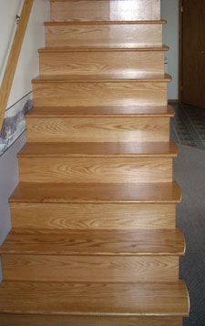 curved and returned oak treads